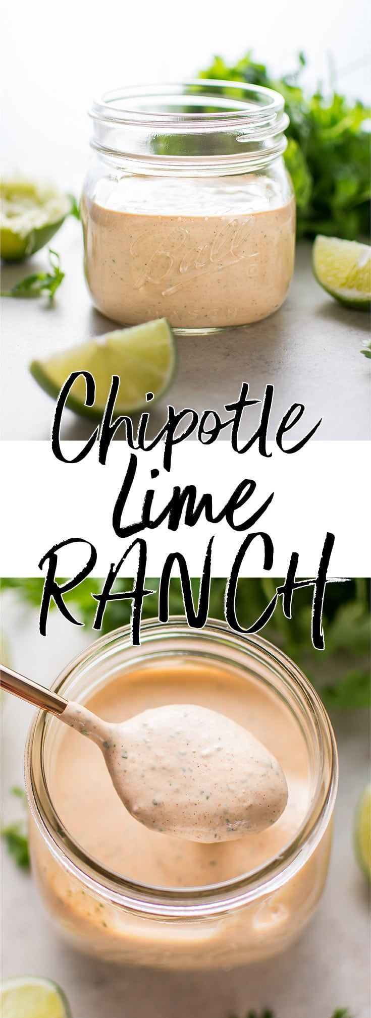 Chipotle cilantro lime ranch dressing is smoky, tangy, and as spicy as you want it to be! This dressing is the ultimate topping for salads, tacos, wraps, or even for dipping chicken strips.