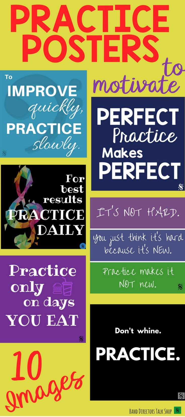 "$6 Practice Habits Posters! Visit ""Band Directors Talk Shop"" on Teachers Pay Teachers for band lesson plans, band games, band activities, beginning band ideas, band bulletin board sets, rhythm games, note name games, music word walls, practice reports, rehearsal techniques, woodwind, brass and percussion instrument care, band teaching strategies, motivational quotes, elementary music ideas, elementary music games, elementary music bulletin board ideas and more!"