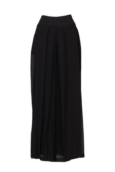 Falda pantalon larga negra de Isabel de Pedro
