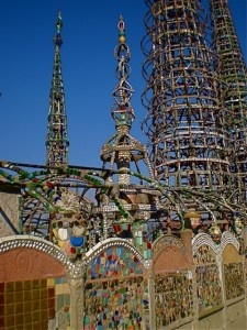 """The Watts Towers, Los Angeles, California USA.  built by Sabato """"Simon"""" Rodia 1921 and 1954. Astrogeographic position: in the two subjective, emotional signs Cancer and Leo for field level 4."""