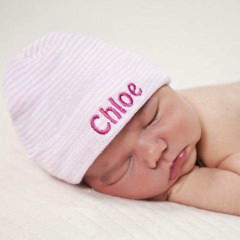 Pink & White Striped Personalized Newborn GIRL hospital hat with PINK Letters #Melondipity