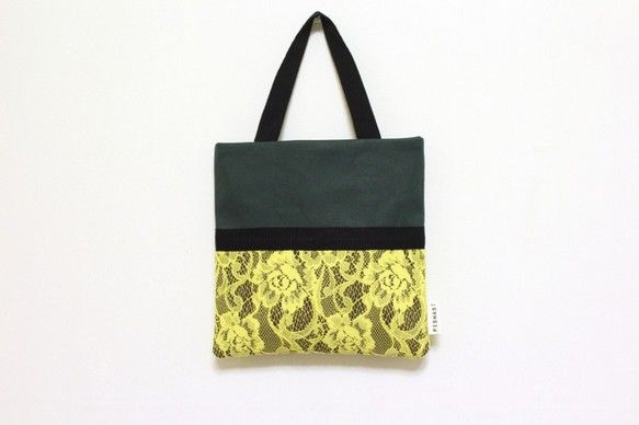 スクエアハンドバッグmoss green/ dark gray/ yellow lace