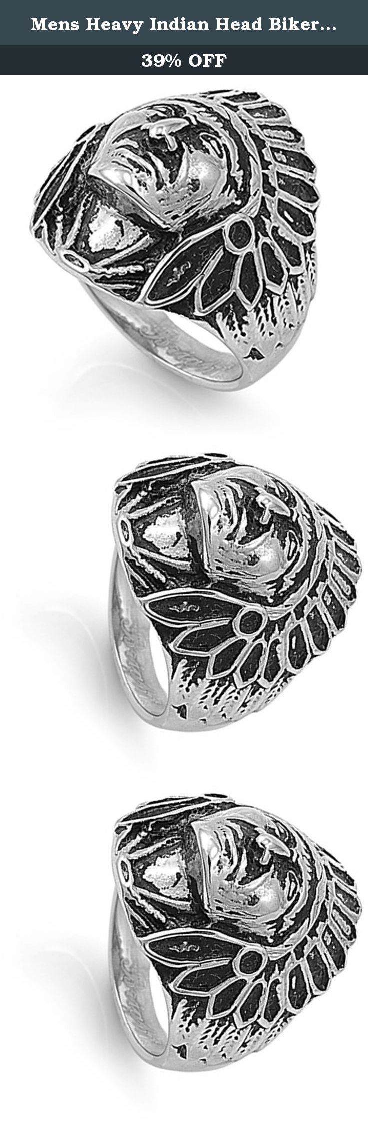 """Mens Heavy Indian Head Biker Ring Polished Stainless Steel Band 26mm Size 15 (STL40364-15). All our stainless steel jewelry is crafted from the finest 316L grade stainless steel, referred to by the medical community as surgical steel, that provides a flawless finish guaranteed to stand the test of time. Our """"comfort fit"""" jewelry is designed using the latest laser technology to ensure precision cuts, smooth edges and quality finishes. We promise superior service which includes fast…"""