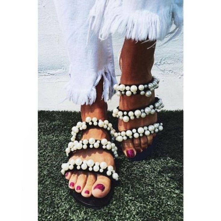 NWT ZARA Pearl Black Strappy Sandals Jeweled Ref.2600 / 201 Size EUR 36 / US 6 #Za …