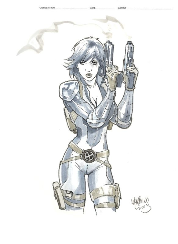 Domino X-Force Comic Art