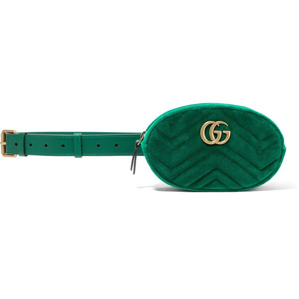 GucciGg Marmont Quilted Velvet And Leather Belt Bag ($955) ❤ liked on Polyvore featuring bags, handbags, shoulder bags, green, zip cross body bag, green crossbody bag, crossbody bag, cross body and gucci