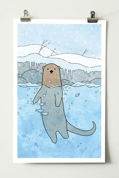 A playful illustration of a river otter swimming next to the snowy bank of a stream. Falling snow, icicles, and a fun underwater dimension with fish! Crisp black lines, drawn with India ink, and soft