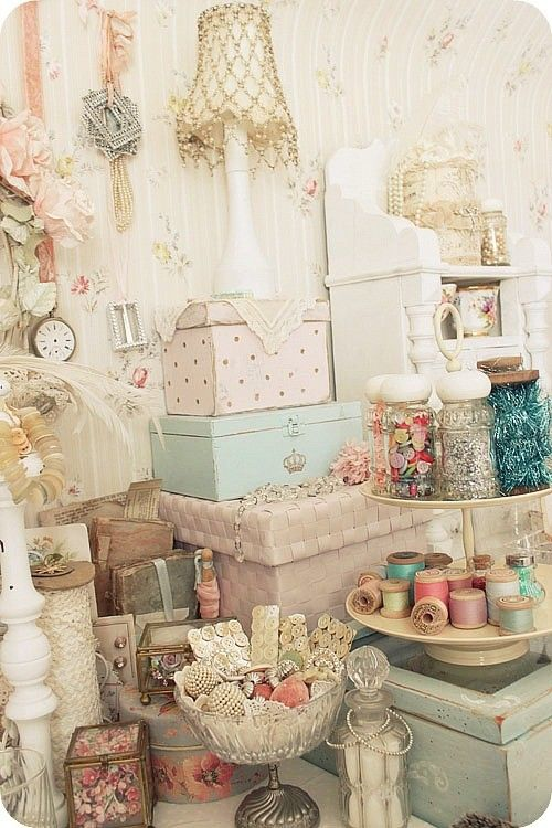 shabby chic with pale pastels -- for a side table or dresser