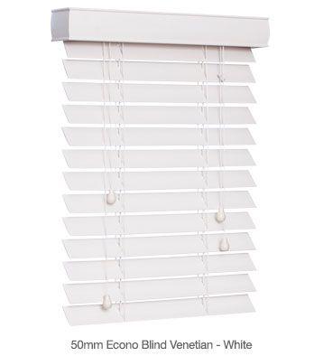 50mm Econo Venetian Blinds - Ready Made White #venetian #blinds