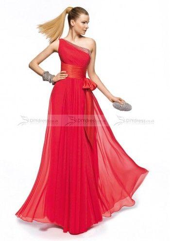 A-Line One-Shoulder Beaded Pleated Floor-Length Bridesmaid Dresses