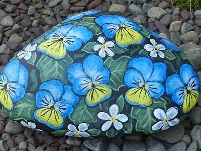 Hand Painted River Rock Spring Flowers Garden Floral Decor C R O'Brien Art   eBay