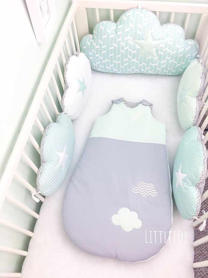 Baby Cot Bumpers Clouds Cushions In Mint White And Grey Baby