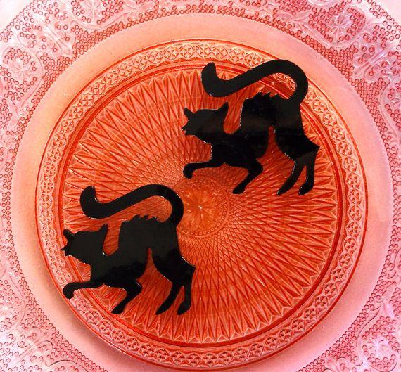 3 pcs  Black Cat Acrylic Resin Planar Flatback by CraftyMissBettie