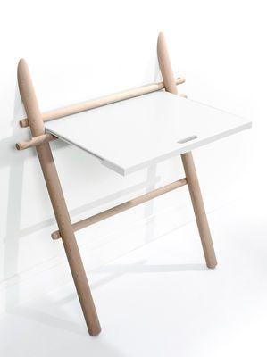 Bureau Appunto pliable / Table d'appoint Hêtre / plateau blanc - ENOstudio 359€ MADE IN DESIGN