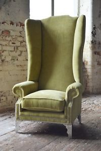 MODERN-QUEEN-ANNE-CHESTERFIELD-WING-ARM-CHAIR-EXTRA-HIGH-BACK-LIME-GREEN-VELVET