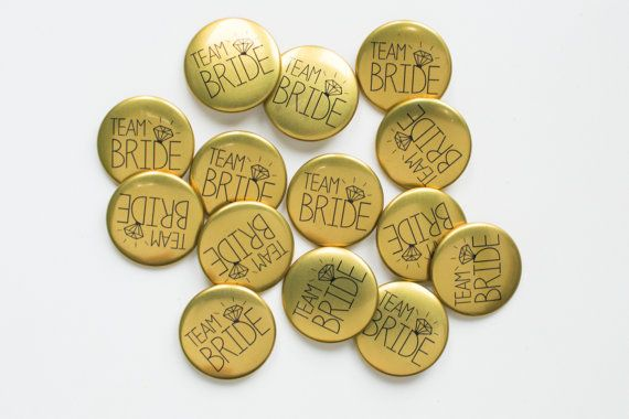 5 x Gold Hen Party Badges   Team Bride / Hen Night / by MakeLoops