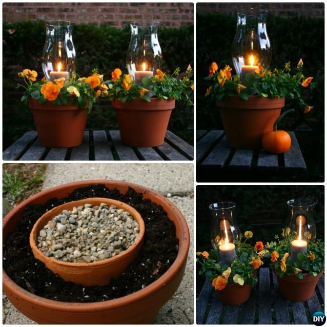 Clay Flower Pot Tower Candle Holder-DIY Flower Clay Pot Tower Projects for Garden