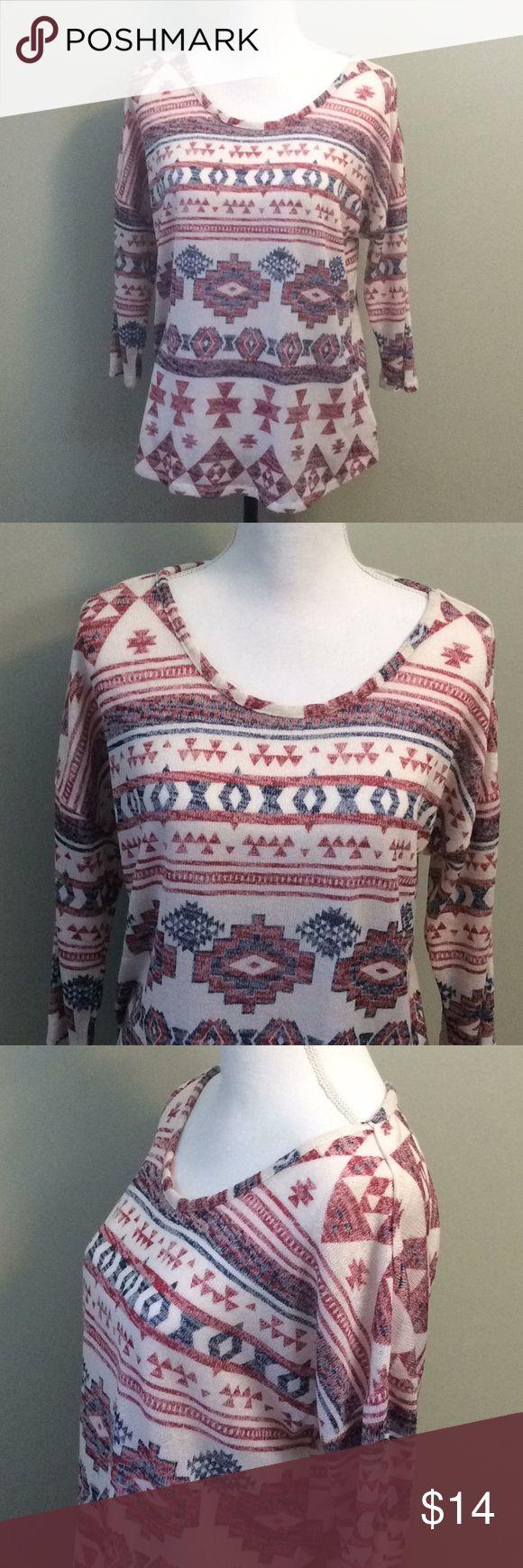 """Almost Famous Plus Size Knit Aztec Top Almost Famous Women's Plus Size 1X Knit Aztec Top Red White Blue Hi Low Hem Chest 22"""" Length 26"""" Almost Famous Tops Blouses"""