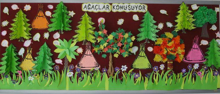 Bilfen İlkokulu 2-K Sınıfı ilkbaharın gelişini ormanla ilgili bir pano yaparak kutladı