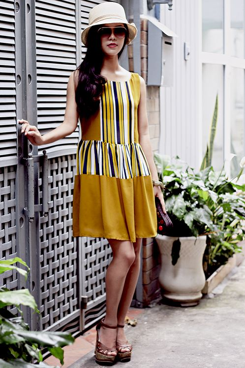 https://www.cityblis.com/item/11728   Summer Dress 005SDB - $80 by Meera Meera Fashion Concept   Summer Dress Code: 005SDB Color: Baby Mustard and stripes with 3 colors Material: Laico Size: M