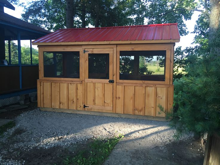 Here's a great solution. This is a 10x14 gazebo designed to allow the removal of the square screens so that you can install wooden frames after the gazebo season to be used as a winter storage for your outdoor funiture