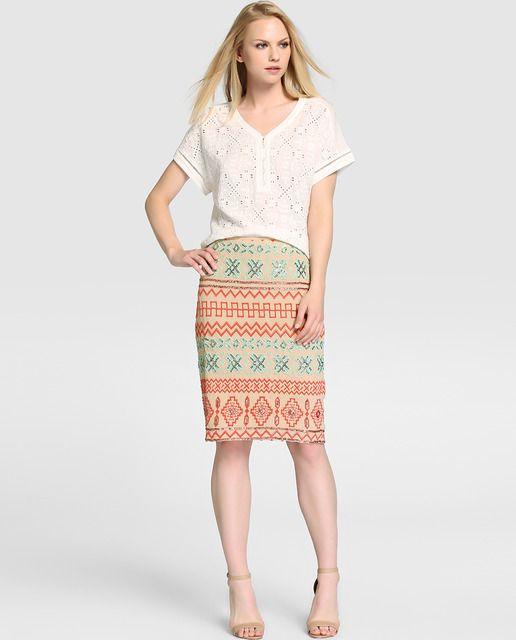 Falda bordada de mujer Amitié de tipo recto