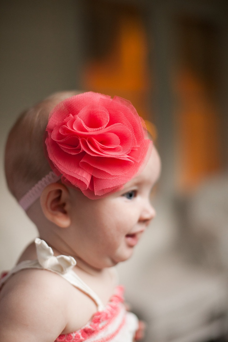 Be best hair accessories for baby - Coral Pink Ruffle Tulle Flower Rose With Elastic Lace Band For Baby Girls