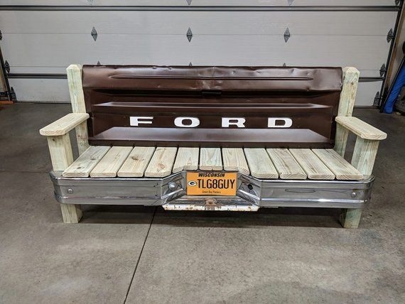 Ford Tailgate Bench With Bumper Tailgate Bench Woodworking Projects Table Automotive Decor