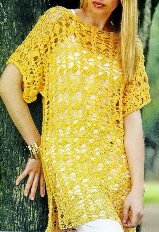 Long crochet tunic pattern for women, great summer top. Free crochet pattern More Patterns Like This!