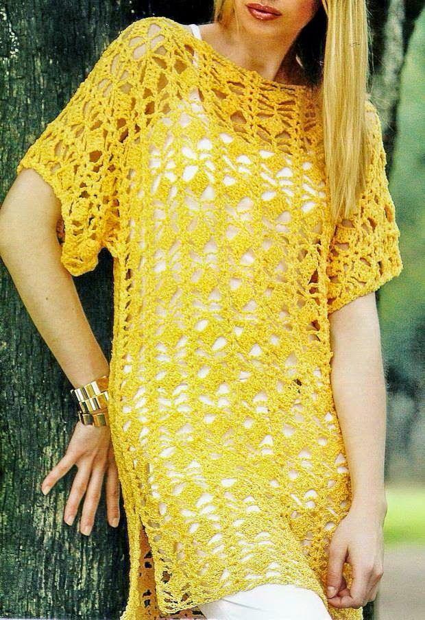 Crochet Sweater: Crochet Tunic Pattern - Beautiful T- Shirt