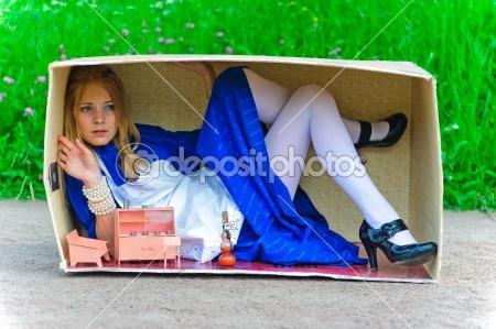 Alice in Wonderland photo idea with dollhouse furniture by Анна Якимова - Stock Photo