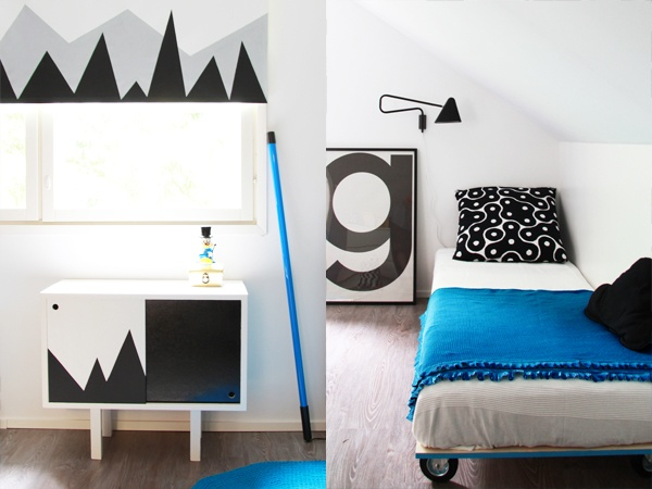 Look, with only one single colorful object makes whole room bright and fun. So easy to change the atmosphere, if rest is black and white. By Bambula blog.