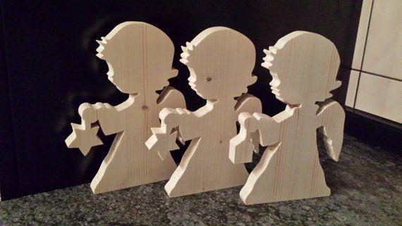 Natur Holz Engel mit Stern Tischdeko Weihnachten, Weihnachtsdeko, Holzdekoration, Deko aus Holz