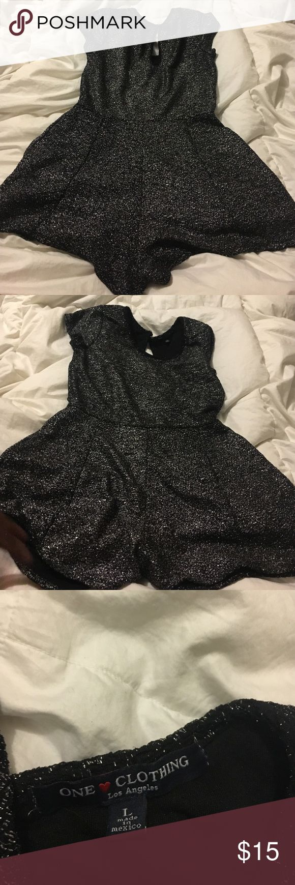 A Black Romper/playsuit Black with silver / metallic romper one clothing Dresses Mini