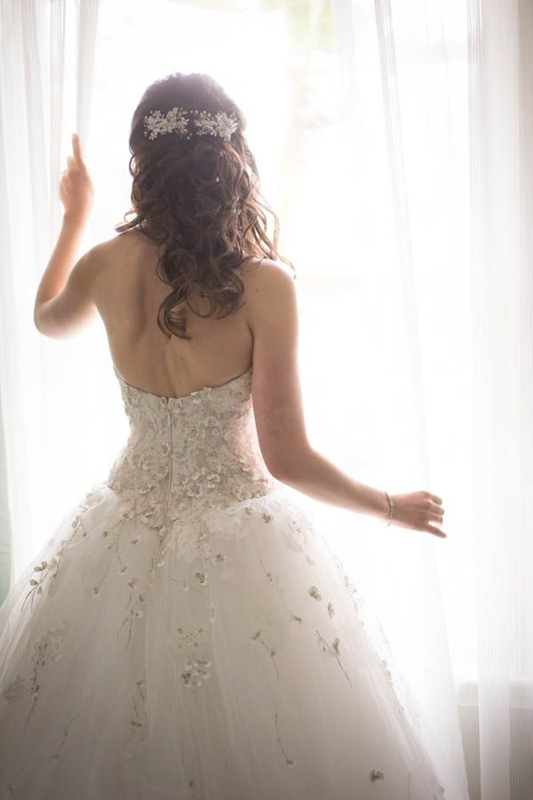 Custom made Monique Lhuillier wedding dress with floral appliques - Enchanted forest wedding inspiration (Miki and Sonja Photography)