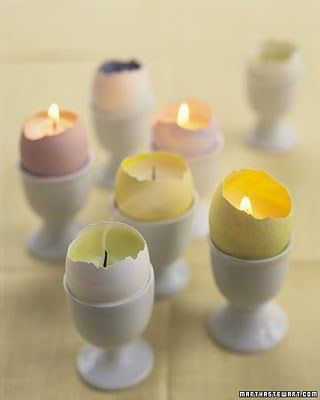 Egg Shell Candle Holder.  A pretty way to dress up the table for Easter.