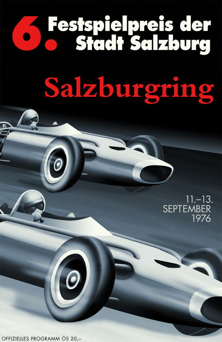 Cars silver racer poster 2 - Salzburgring 1976 Race Carsantique