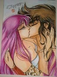 Resultado de imagen para seiya y saori enamorados