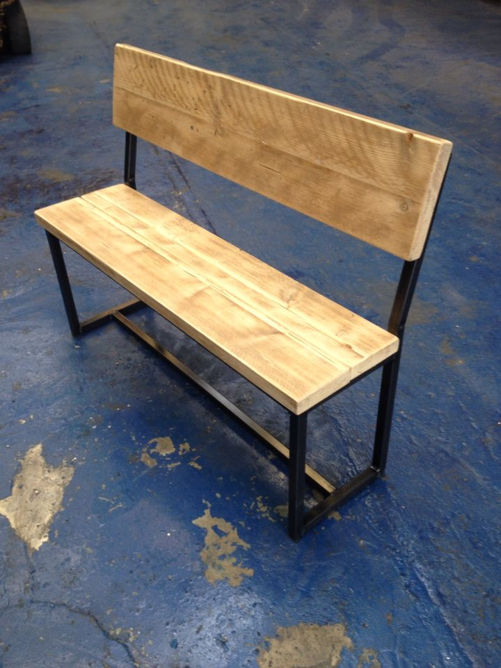 Industrial Style Bench For Both Indoors And Outdoors! Raw Metal Finish With  Clear Varnish Finished Part 89