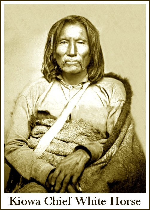 """In 1875, Kiowa chief White Horse (Tsen-tainte) and a group of followers surrendered at Fort Sill, Indian Territory. White Horse had gained considerable notoriety during the early 1870s for his raids on Texas settlements, and was considered the """"most dangerous man"""" among the Kiowas. White Horse was incarcerated at St. Augustine, Florida. He died of a stomach ailment in 1892 and was buried on the reservation near Fort Sill."""