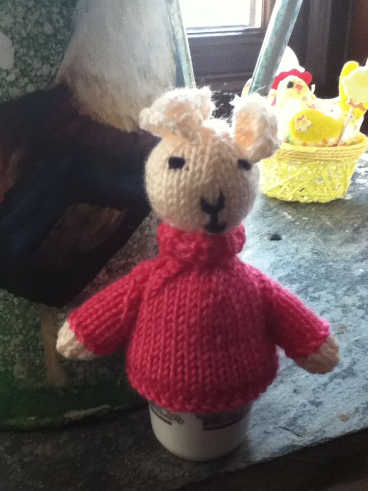 Here is the rabbit egg cosy I knitted for our Easter Window