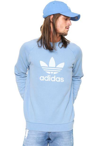 d8faa0833e4 Moletom Fechado adidas Originals Trefoil Crew Azul - Marca adidas Originals