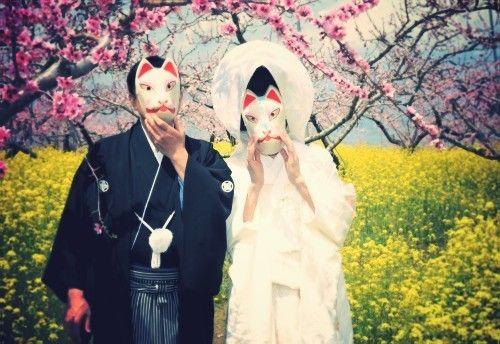 狐の嫁入りのイメージ画像。 日本独特のウェディング♡