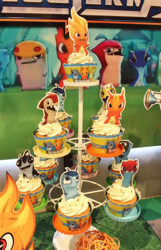 Slugterra Birthday Party cupcakes! See more party planning ideas at CatchMyParty.com!