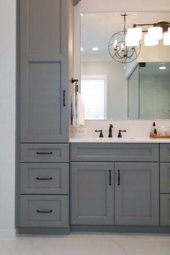 Gray Bathroom Vanity With Towers And Drawers For Storage