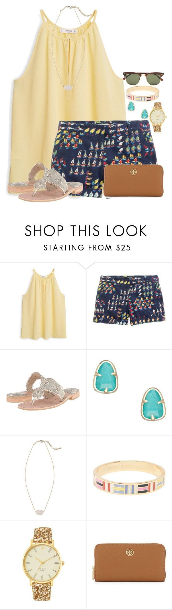 """~sailboats on a summer day~"" by flroasburn ❤ liked on Polyvore featuring MANGO, J.Crew, Jack Rogers, Kendra Scott, Kate Spade, Tory Burch and Ray-Ban"