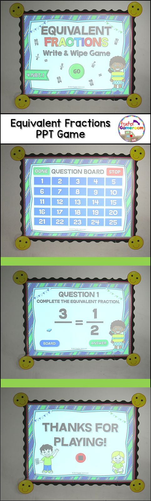 Practice equivalent fractions with this fun powerpoint game for smartboards and interactive boards. CCSS aligned.