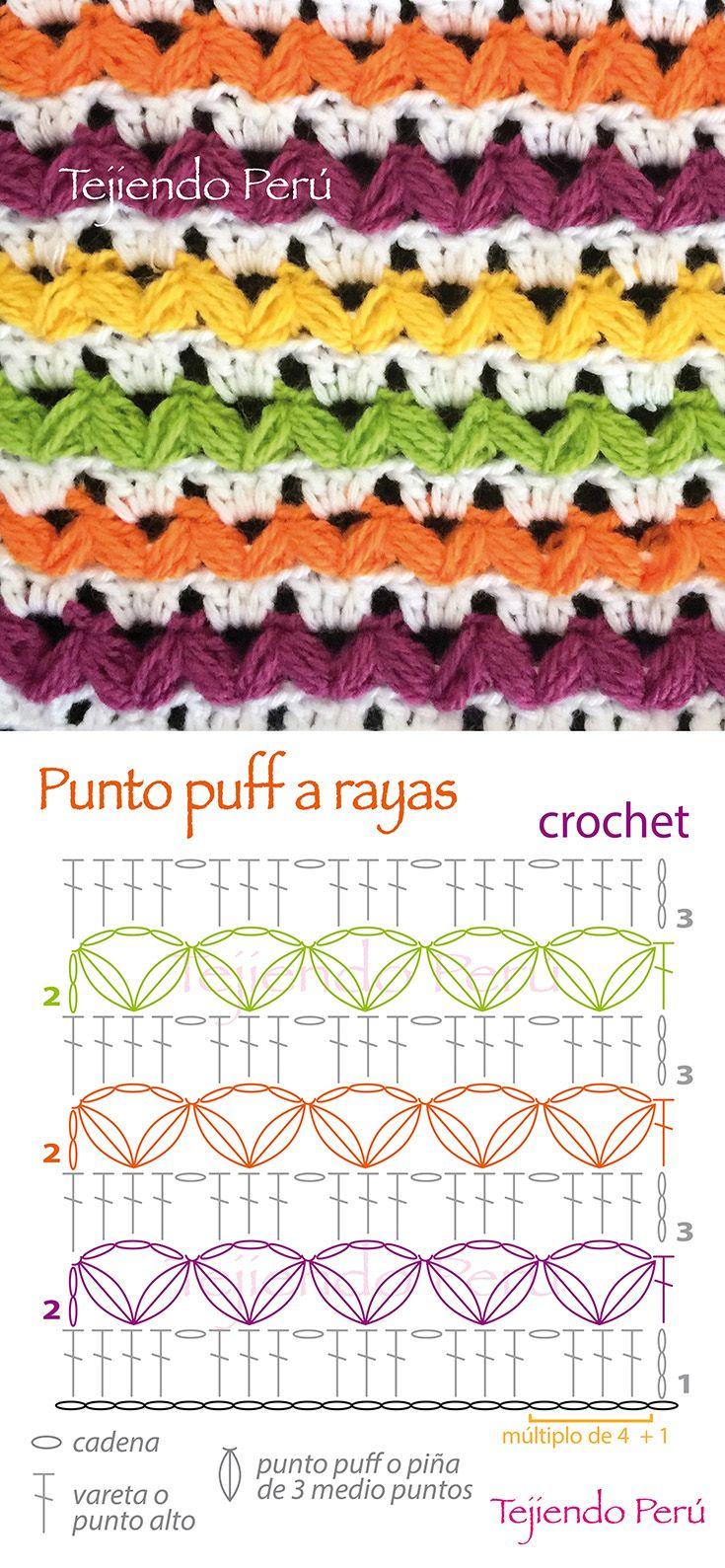 Crochet: diagrama del punto puff a rayas... bonito y fácil de tejer! ༺✿ƬⱤღ✿༻