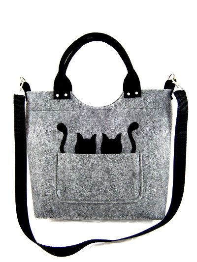 Cats handbag Felt purse Bag for women Gray bag Felt bag Designer handbag Felt shoulder bag Modern Large bag