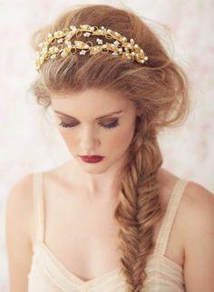 wedding hair fishtail braid with headband - Google Search